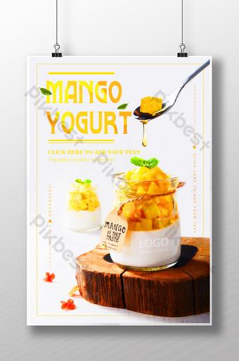 poster iklan promosi buah mangga yogurt musim panas yang sejuk dan lezat Templat PSD