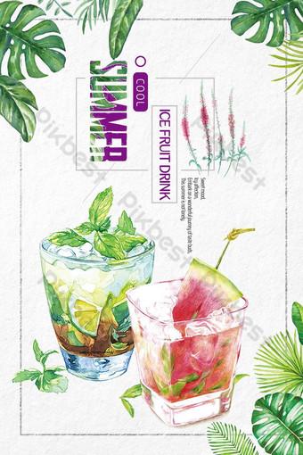 Ręcznie rysowane plakat napój lód sok lato wiatr Szablon PSD