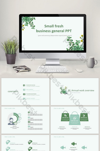 Maliit na sariwang template ng pangkalahatang ppt ng negosyo PowerPoint Template PPTX