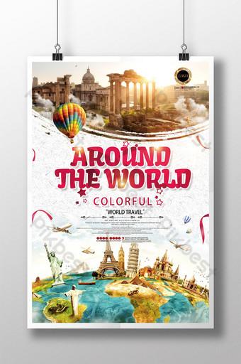 perjalanan berwarna-warni mengelilingi poster kumpulan pelancongan dunia Templat PSD