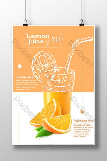 Simpleng solidong kulay sa tag araw na uminom ng juice orange poster Template PSD