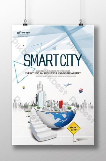 pôster do quadro de exposição de tecnologia da vida na cidade inteligente Modelo PSD