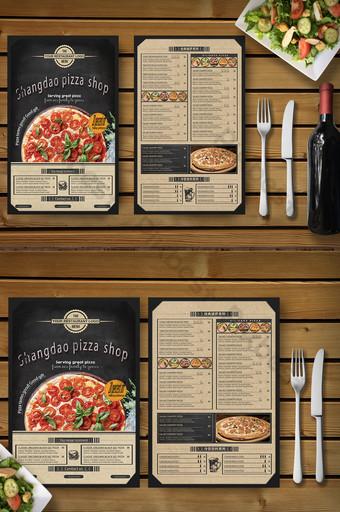 menú de recetas promocionales de la tienda de pizza del restaurante occidental de moda Modelo PSD