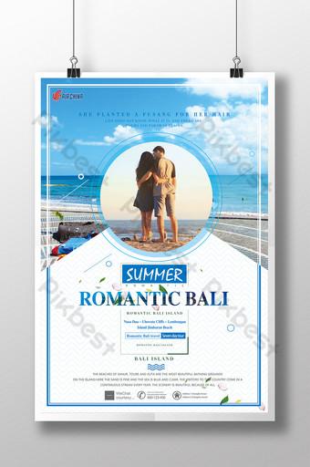 poster perjalanan bali romantis Templat PSD