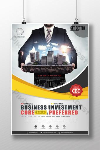 cartel de centro de negocios de venta de apertura de bienes raíces Modelo PSD