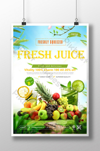 poster promosi jus segar yang indah dan kreatif Templat PSD