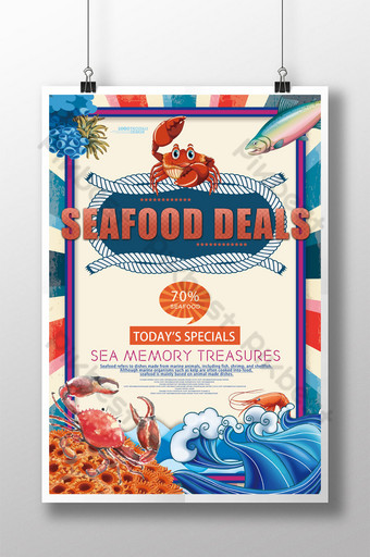 Creative seafood special catering food poster design Template PSD