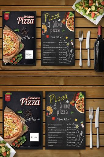 Dépliant de menu de restaurant de pizza noir élégant et délicieux Modèle PSD