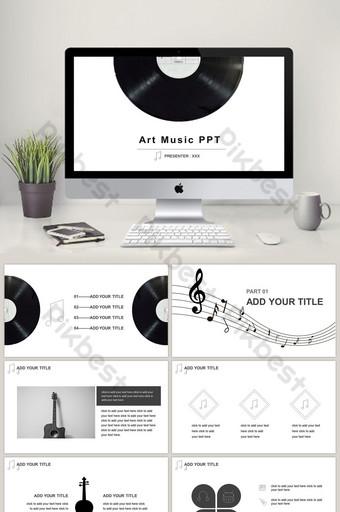 hitam dan putih high end simbol musik sederhana unduhan template courseware ppt PowerPoint Templat PPTX