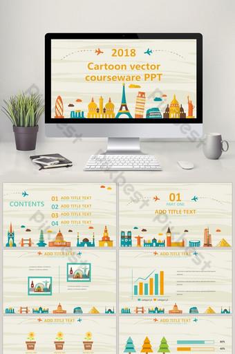 Phim hoạt hình tòa nhà cắt hình vector mẫu ppt năng động PowerPoint Bản mẫu PPTX