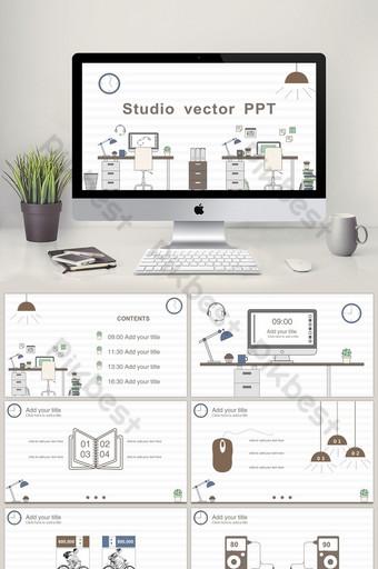 Mẫu PPT động vector studio dòng đơn giản PowerPoint Bản mẫu PPTX