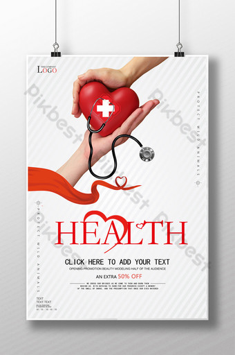 pôster de promoção de hospital de clínica gratuita de amor Modelo PSD