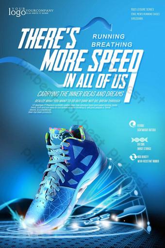 diseño de carteles creativos para zapatillas deportivas. Modelo PSD
