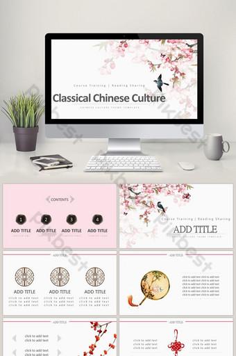 Ang style na Chinese style ng peach blossom na tema ng mga klasikong template ng PPT PowerPoint Template PPTX
