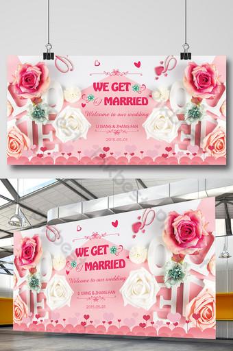 Tableau d'affichage de fond de mariage rose romantique rose Modèle PSD