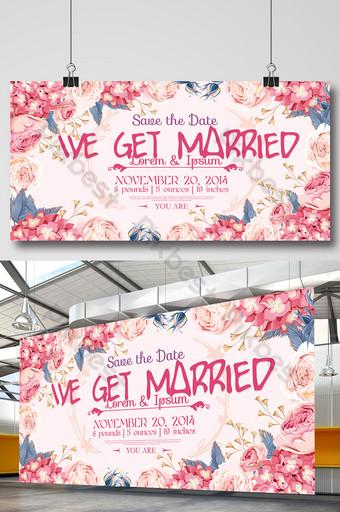 Tableau d'affichage de fond de mariage rose romantique magnifique Modèle PSD