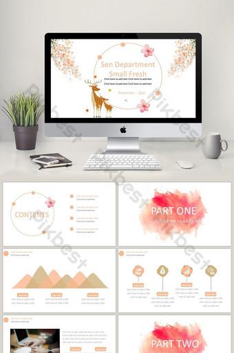 pink sen's small fresh ppt template PowerPoint Template PPTX