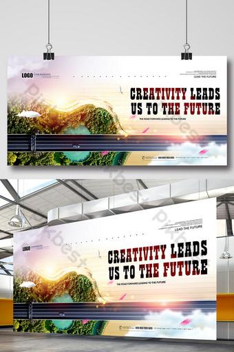 La publicité créative automobile mène l'avenir des panneaux d'exposition automobile Modèle PSD