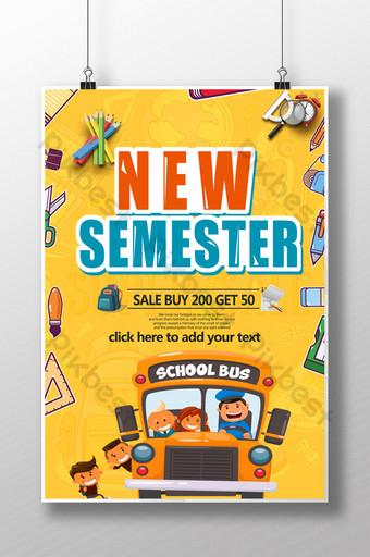Crazy school season stationery promotion poster Template PSD