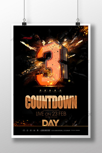 Countdown number 3 pangatlong poster ng anibersaryo Template PSD
