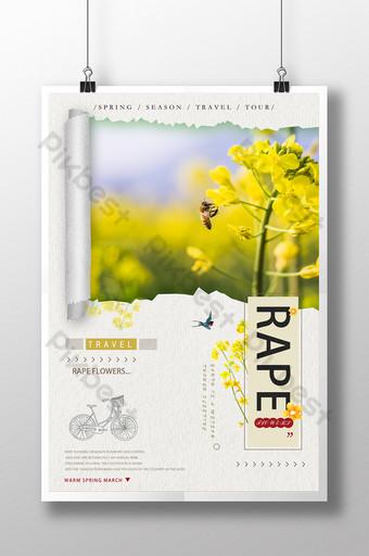 صغيرة طازجة زهرة اللفت الربيع السفر ملصق قالب PSD