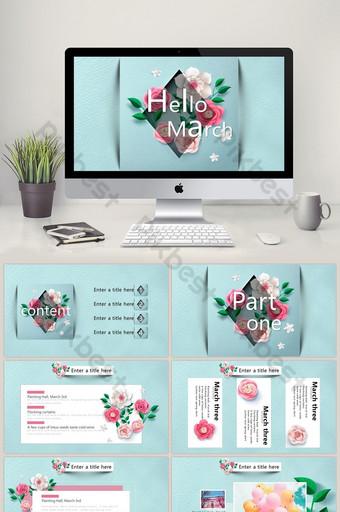Piękny kwiat sztuki mała świeża ilustracja Broszura szablon PPT wiosna PowerPoint Szablon PPTX