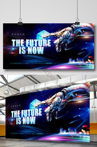 o futuro chegou para a placa de exposição de tecnologia azul de inteligência artificial Modelo PSD