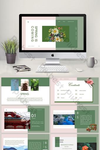 Ciemnozielona wiosna przyszła do szablonu PPT w stylu broszury artystycznej PowerPoint Szablon PPTX