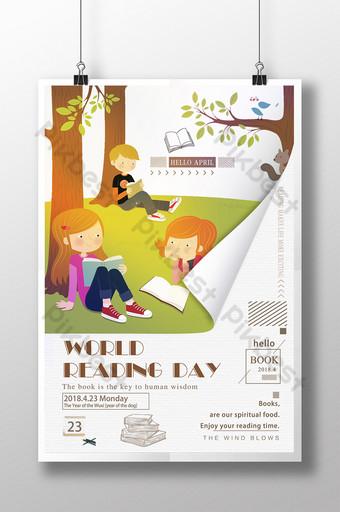 신선한 만화 교육 세계 독서의 날 크리 에이 티브 포스터 템플릿 PSD