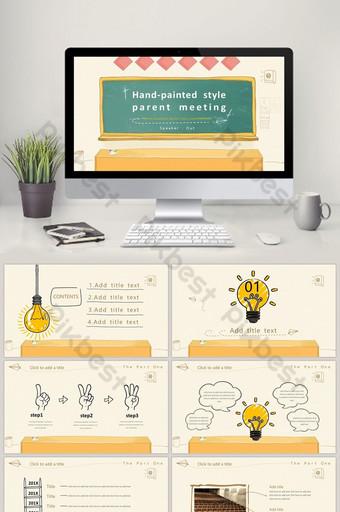 plantilla ppt reunión de padres de clase de temporada escolar de dibujos animados amarillo pintado a mano PowerPoint Modelo PPTX