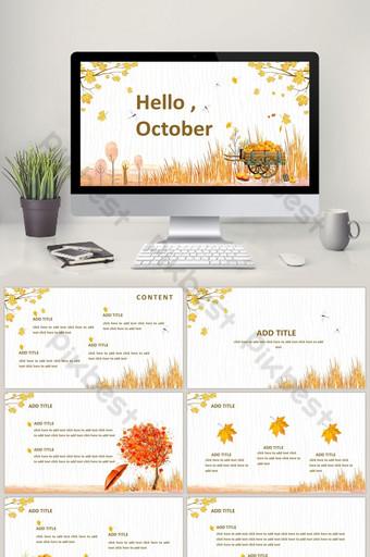 الذهبي الرائعة أكتوبر مرحبا الخريف موضوع قالب ppt PowerPoint قالب PPTX