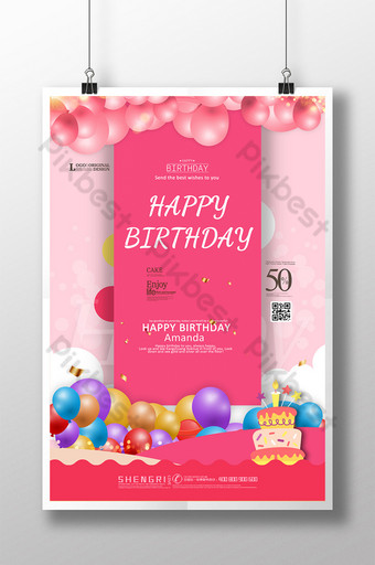 pôster criativo simples feliz aniversário bolo minimalista Modelo PSD