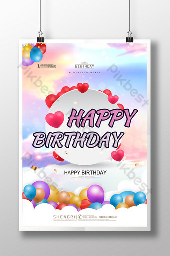 cartaz criativo feliz aniversário bebê evento Modelo PSD