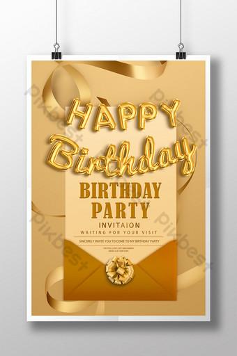 affiche d'invitation de fête d'anniversaire haut de gamme Modèle PSD