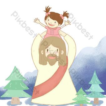 2018 عيد الميلاد يسوع يحب الأطفال صور PNG قالب PSD