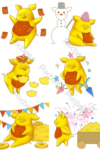 2019 golden pigs send blessings to everyone PNG Images Template PSD