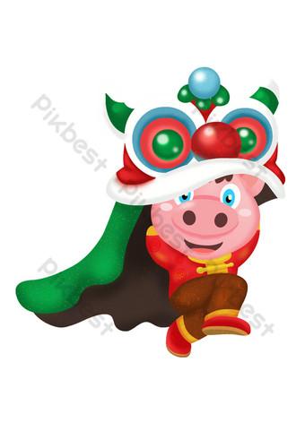 2019新年舞獅吉祥豬卡通設計 元素 模板 PSD