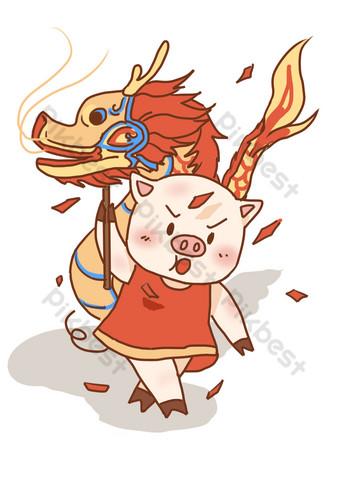 2019豬年新年舞龍插畫 元素 模板 PSD