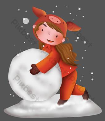 2019 año del cerdo muñeco de bola de nieve Elementos graficos Modelo PSD