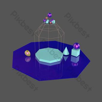 3d炫彩小舞台免費圖案 元素 模板 PSD