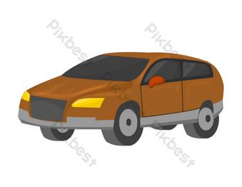 mobil off road berwarna coklat Elemen Grafis Templat PSD