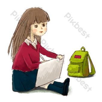 una niña que se sienta en el suelo y dibuja Elementos graficos Modelo PSD