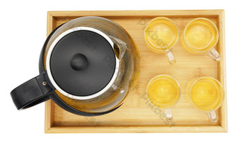 A plate of teapot and tea set PNG Images Template RAW