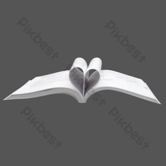 لقطة حقيقية لكتاب أبيض مفتوح على شكل قلب صور PNG قالب RAW