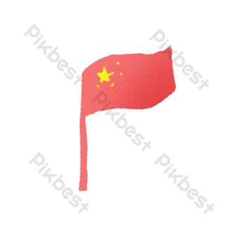紅五星紅旗卡通元素 元素 模板 PSD