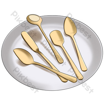 A set of spoons posing in a white dinner plate PNG Images Template PSD