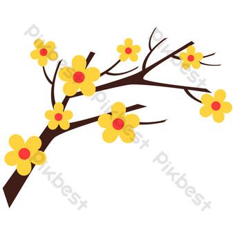 желтый цветок свободный вырез Графические элементы шаблон PSD