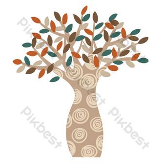 مجردة شجرة كبيرة بأوراق ملونة صور PNG قالب PSD