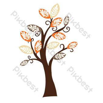 مجردة شجرة كبيرة بأوراق البرتقال صور PNG قالب PSD
