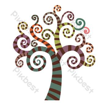 مجردة شجرة كبيرة ملونة مخطط صور PNG قالب PSD
